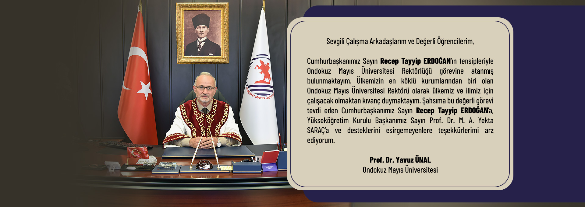 Rector Ünal's Appreciation Message